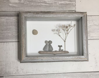 Pebble Art Couple with Dog ~ unique anniversary gift, wedding gift, bridal shower gift, engagement gift, retirement gift, housewarming gift