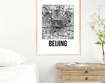 Beijing City Map Print - Black and White Minimalist City Map - Beijing Map - Beijing Art Print - Beijing Wall Art - City Map Print