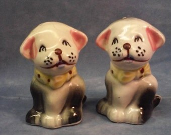 Vintage Puppy Dog Salt & Pepper Shakers, Made in Japan