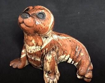 Vintage Seal Sea Lion Clay Figurine Made in Alaska Souvenir