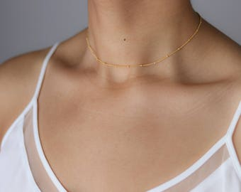 Dainty Beaded Satellite Chain Choker - Layering Choker Necklace - Delicate Gold Necklace - Dew Drop Necklace- Delicate Choker