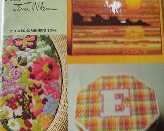 New World of Plastic Canvas Pattern Book by Erica Wilson 16 Needlepoint Designs ~ 1977