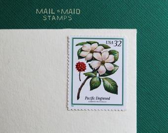 Flowering Trees - Pacific Dogwood     Set of 5 unused vintage postage stamps