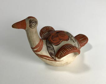 Hand-painted Mexican pottery bird bank