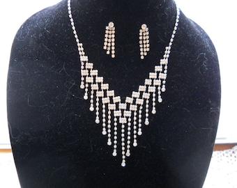 Rhinestone Bib Necklace Earring Set #733