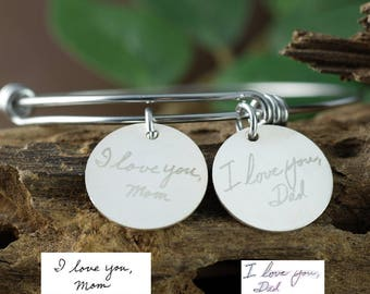 Actual Handwriting Jewelry, Custom Handwriting Bracelet, Personalized Engraved Bracelet, Gift for Mom, Wife, Handwritten Bracelet
