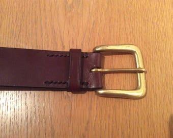 Brown tan leather belt brass buckle