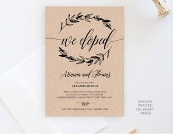 Elopement Announcement Template, Wedding Elope Invitation Printable, We Eloped, We Eloped, Instant Download, Fully Editable, DIY #023-102EL
