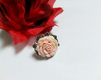 Adjustable ring, pink ring, silver ring, flower ring, rose ring, original ring, single ring, ring