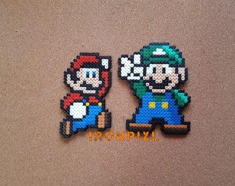 Super Mario Bros Luigi and Mario Jump figurines. Nintendo game [Pixel Art.