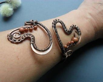 Heart Copper cuff bangle bracelet Wire wrap bracelet Wire wrapped jewelry Gemstone bracelet handmade Golden sand bracelet womens Copper wrap