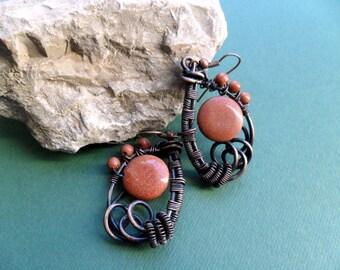 Copper wrap earrings, Goldstone, Wire wrapped jewelry, Women gift, Rustic Copper Earthy earrings, Tribal, Boho Earrings, Jewelry, Handmade