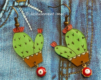 Bronze earrings with a green and red cactus made with crazy plastic