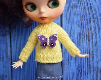 Sweater for Blythe with butterfly Blythe outfit  Blythe doll clothes Blythe jumper  Blythe light yellow sweater Blythe  sweater