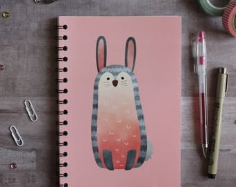 NOTEBOOK. A5 Cute Bunny Spiral Notebook. Soft 300 gsm Card Cover. 120 lined pages. Matte lamination pleasant to the touch.