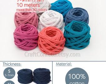 T-shirt yarn 10m / M yarn / Thick spaghetti yarn Quality fabric yarn 100% cotton yarn Bulky cotton yarn Craft material / 10 m (10.9 yards)