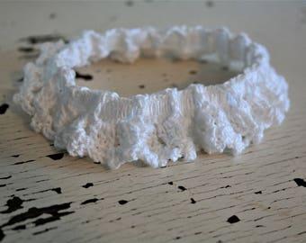 White Bridal Garter-Medium