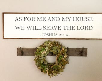 As For Me and My House Sign | Fixer Upper | Serve The Lord | Joshua 24 15 | Bible Verse Sign