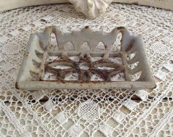 Antique French Enameled Cast Iron Soap Dish