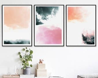 Abstract Wall Art Minimalist Print Modern Art Set Of 3 Downloadable Prints  Triptych Art Posters Office