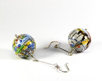 Pierced Earrings Berlin City map Tree Bridge Jannowitzbrücke gift for you gift packing poison for travelers