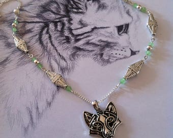 """Green Crystal beads and silver necklace """"Cunning Fox"""""""