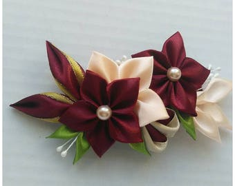 Satin French Barrette/Kanzashi hair clip with burgundy and beige flowers/Satin Flower Hair clip/Hair accessory