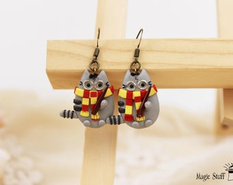 Pusheen Harry Potter style earrings Gryffindor jewelry Funny gift Pusheen earrings Dangle earrings Hogwarts jewelry Gryffindor earrings gift