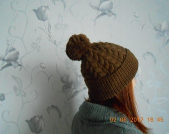 Knitted hat Knitted women's cap Brown women's hat Women's hat Brown hat Winter hat Brown knitted hat Women's knitted hat  Gift for her