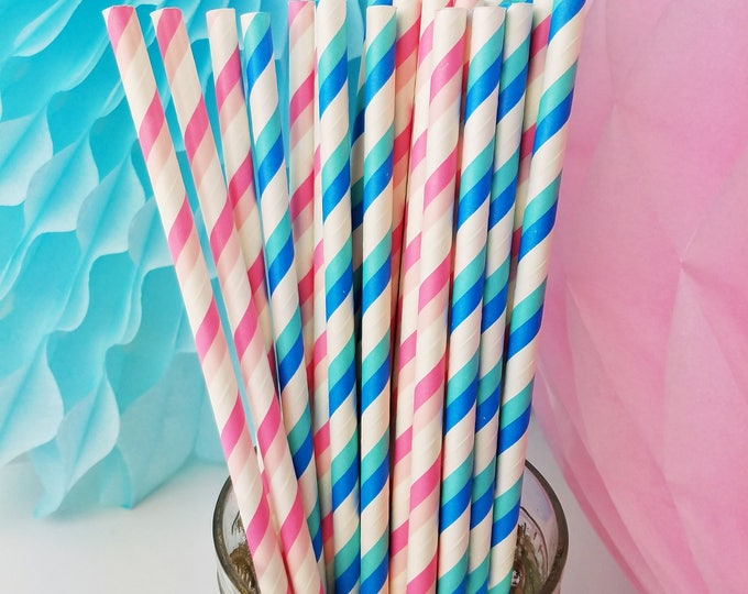 Gender Reveal Party Paper Straw Mix in Blue & Pink