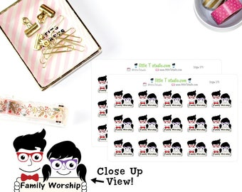 Printed Sticker Sheet - Family Worship Reminder Stickers - Style 571