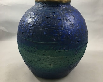 Vintage Orange and Blue Painted Rough Finish Pottery