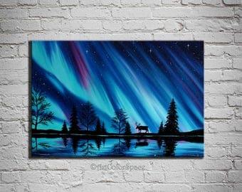 Aurora borealis art Northern lights Norway painting Gift Large wall art Aurora Landscape Painting on canvas Night sky Northern lights decor