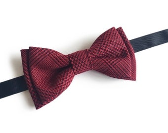 "Dark Red Pre Tied Bow Tie ""Moissan"", Best Gift For Men, Weddings, Birthday, Valentines Day"