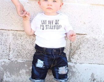 Lay Off Me I'm Starving Funny Baby Bodysuit - Chris Farley Baby Gift - Funny Baby Gift - Baby Shower Gift
