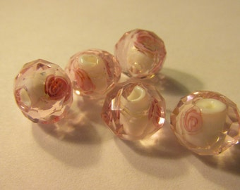 Faceted Pink Glass Beads with Pink Roses, 12mm, Set of 5