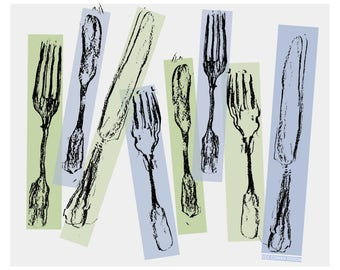 Fork and Knife print for kitchen -  Silverware art for dining room  -   Food Lover housewarming gift  - Pop art style print for home decor