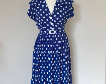Blue and White Spotty Vintage Dress | Vintage Sailor Collar Dress | 1950s Style Vintage Dress | Size UK10 US6