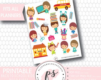 Back to School Kids Deco Sheet Printable Planner Stickers | JPG/PDF/Silhouette Compatible Cut Files