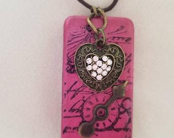 Domino Art Pendant with heart