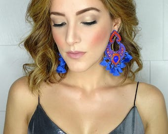Blue Statement Earrings,Christmas Gift For Her,Tassel Jewelry,FashionEarrings,Threader earring,Wholesale Earrings,Fringe Jewelry,Earrings