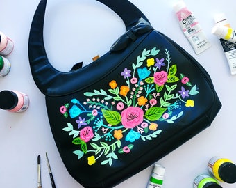 Hand Painted Upcycled Vintage 1960s 1950s Atomic Handbag Bright Colorful Florals Purse