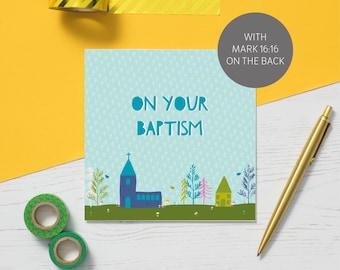 Baptism Card   Church Card   Biblical Card   Bible verse on Back    Christian Card   blank inside