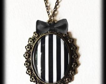 Gothic Steampunk Statement Necklace, Black and White Striped, Glass Cameo Pendant, Bronze Steampunk Pendant, Alternative Jewelry