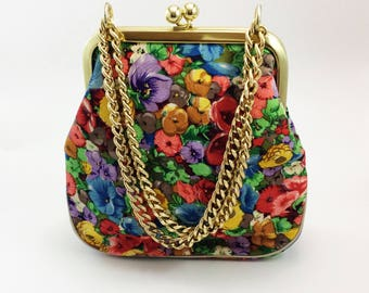 Vintage floral and gold clutch, oversized clutch, vintage handbag, from the 1960s