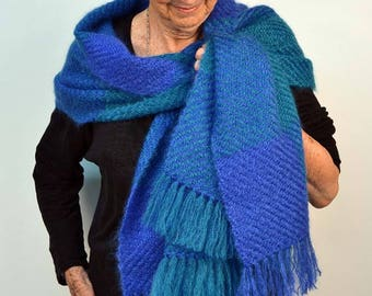 Handwoven shawl, in royal blue and turquoise mohair. Winter wrap, pashmina, large scarf, handwoven in electric blue and turquoise mohair.