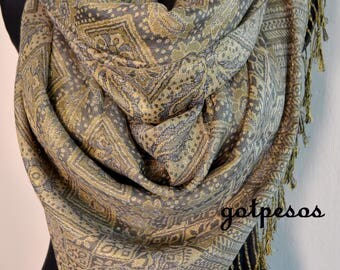Pashmina Scarf Shawl for Women gray gold, Paisley Pashmina Shawl