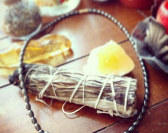 Hematite Crystal Necklace, Positive Energy, Reiki, Focus, Healing, Gemstone, Grounding, Protection