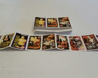 150 wcw / nwo valentine wrestling trading cards - 15 attached strips - wwe wwf wcw nwo sting luger giant goldberg hogan ddp savage hart