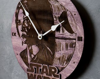 Death Star clock, Star Wars clock, Star Wars Decor, Star Wars Wood Clock, Christmas gift, gift for boyfriend, gift for brother, men gift